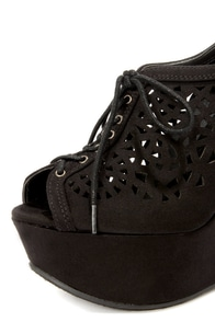 Speed Limit 98 Fender Black Cutout Lace-Up Platform Wedges at Lulus.com!