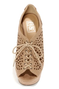 Speed Limit 98 Fender Light Taupe Cutout Lace-Up Platform Wedges at Lulus.com!