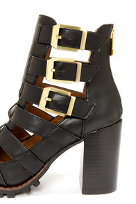Report Signature Ashtin Black Caged Ankle Boots at Lulus.com!