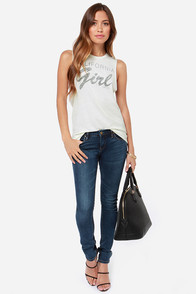 O'Neill CA Cali Girl Off-White Muscle Tee at Lulus.com!