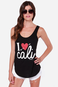 O'Neill CA Heartfelt Black Tank Top at Lulus.com!