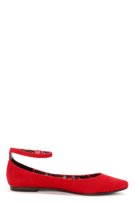 Bamboo Object 09 Red Velvet Pointed Flats at Lulus.com!