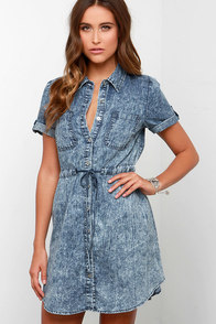 Jean Says Washed Denim Shirt Dress at Lulus.com!