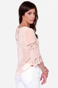 Sing Your Praises Peach Lace Top at Lulus.com!