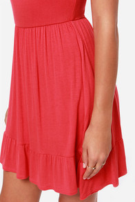 LULUS Exclusive Steal A Glance Coral Red Dress at Lulus.com!