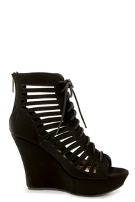 Bamboo Charli 32 Black Cutout Lace-Up Wedge Booties at Lulus.com!