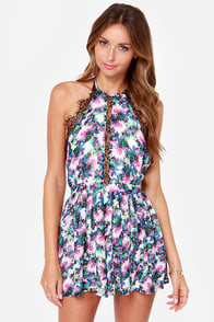 The Best Halter-native Purple Floral Print Romper at Lulus.com!
