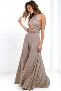 Tricks of the Trade Taupe Maxi Dress at Lulus.com!