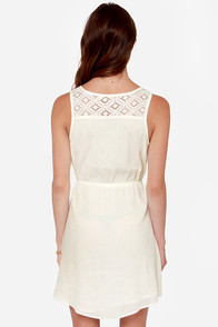 Roxy Ricochet Cream Lace Dress at Lulus.com!