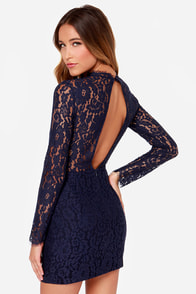 Keepsake Run the World Navy Blue Long Sleeve Lace Dress at Lulus.com!