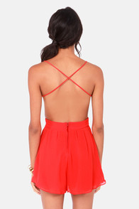 Sealed With a Kiss Backless Red Romper at Lulus.com!
