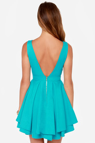 Flirting With Danger Cutout Turquoise Dress at Lulus.com!