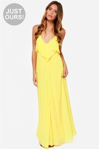 LULUS Exclusive Silent Lagoon Yellow Maxi Dress at Lulus.com!