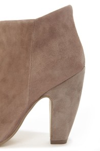 Steve Madden Paulina Taupe Suede Peep Toe Ankle Booties at Lulus.com!