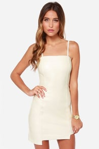 Mink Pink Nobody But Me Ivory Vegan Leather Dress at Lulus.com!