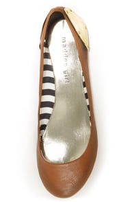 Madden Girl Harrley Cognac and Gold-Plated Ballet Flats at Lulus.com!