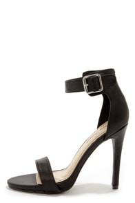 Anne Michelle Perton 17 Black Single Strap Heels at Lulus.com!