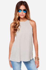 At First Crush Grey Top at Lulus.com!