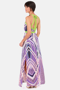 Wanna Get to Nova Purple Print Maxi Dress at Lulus.com!