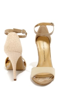 Chinese Laundry Lucky Charm Cream Nubuck Single Strap Heels at Lulus.com!