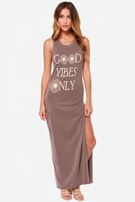 Brokedown Good Vibes Only Brown Maxi Dress at Lulus.com!
