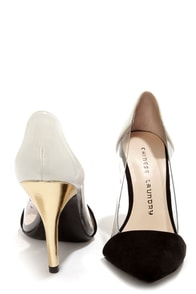 Chinese Laundry Serendipity Clear, Black, White Pointed Pumps at Lulus.com!