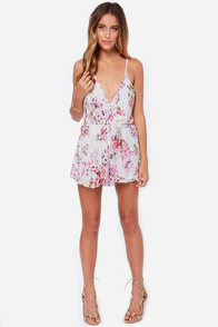 Reverse Samantha Ivory Floral Print Romper at Lulus.com!