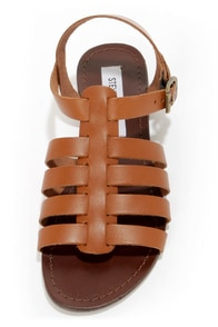 Steve Madden Alter Cognac Leather Gladiator Sandals at Lulus.com!