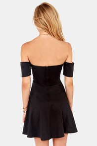 Spin and Dip Off-the-Shoulder Black Dress at Lulus.com!