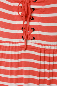 Volcom Play Along Orange Striped Babydoll Dress at Lulus.com!