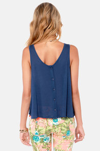 Gypsy Junkies Slouch Navy Blue Tank Top at Lulus.com!