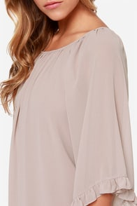 LULUS Exclusive Frill for the Taking Light Taupe Shift Dress at Lulus.com!