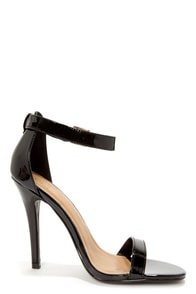 My Delicious Chacha Black Patent Single Strap High Heels at Lulus.com!
