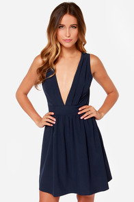 Deep Sea Diva Navy Blue Lace Dress at Lulus.com!