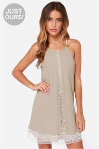 LULUS Exclusive Chai In the Sky Taupe Dress at Lulus.com!