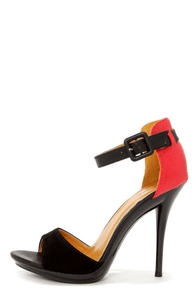 Promise Quillan Black and Red High Heel Sandals at Lulus.com!