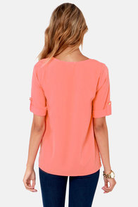 Plain as Day Coral Top at Lulus.com!
