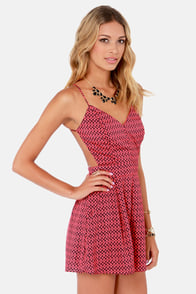 Sealed With a Kiss Backless Coral Print Romper at Lulus.com!