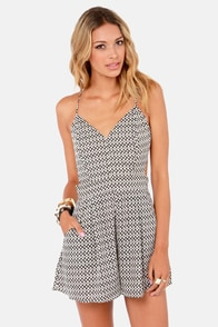 Sealed With a Kiss Backless Black and Ivory Print Romper at Lulus.com!