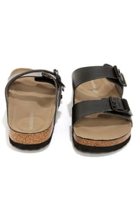 Madden Girl Brando Black Buckled Slide Sandals at Lulus.com!