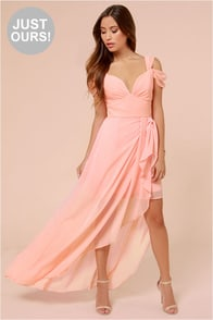 LULUS Exclusive Candied Petals Peach Maxi Dress