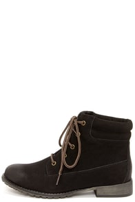 Madden Girl Raage Black Suede Lace-Up Work Boots at Lulus.com!
