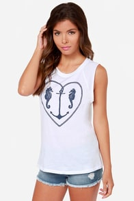 Billabong Seahorse Kissez White Muscle Tee at Lulus.com!