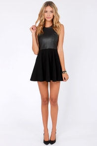 Lady in Leather Black Vegan Leather Dress at Lulus.com!