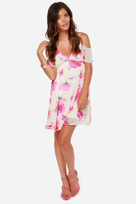 LULUS Exclusive Gossamer Grove Cream Floral Print Dress at Lulus.com!