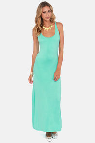 Lucy Love Racer Back Mint Green Maxi Dress