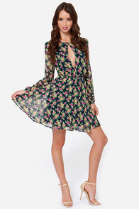 Lucca Couture Smell the Roses Navy Blue Floral Print Dress at Lulus.com!