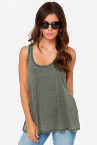 Tank You Very Much Olive Green Tank Top at Lulus.com!