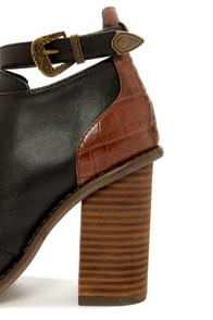 Kelsi Dagger Bina Black and Brown Peep Toe Booties at Lulus.com!
