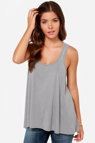 Tank You Very Much Grey Tank Top at Lulus.com!